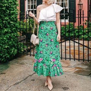 Leurlogette Floral Printed Midi Skirt